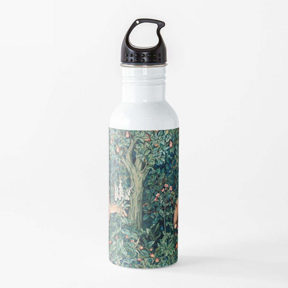 GREENERY, FOREST ANIMALS Fox and Hares Blue Green Floral Tapestry Water Bottle