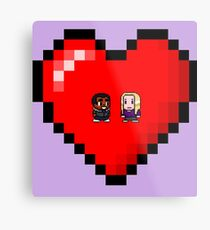 """Love in 8-bit"": Britta and Troy (Style A) Metal Print"