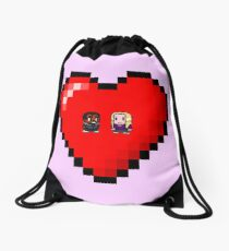 """""""Love in 8-bit"""": Britta and Troy (Style A) Drawstring Bag"""