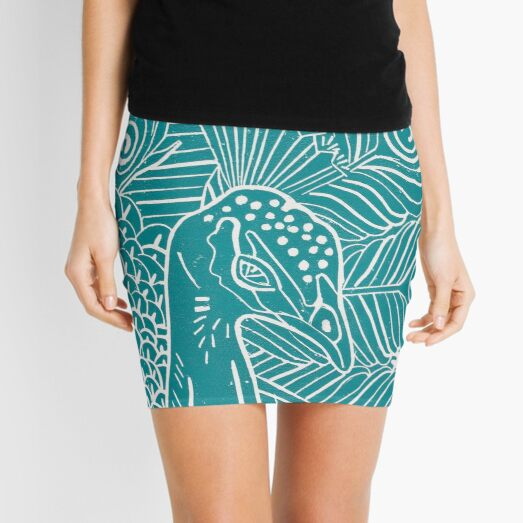 Peacock Linocut in Teal Mini Skirt