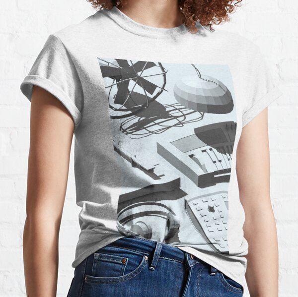 Low Poly Studio Objects 3D Illustration Grey Classic T-Shirt