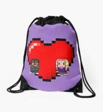 """""""Love in 8-bit"""": Britta and Troy (Style B) Drawstring Bag"""
