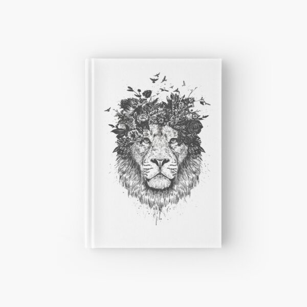 Floral lion (bw) Hardcover Journal