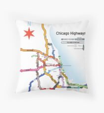 Chicago Highway Names Throw Pillow