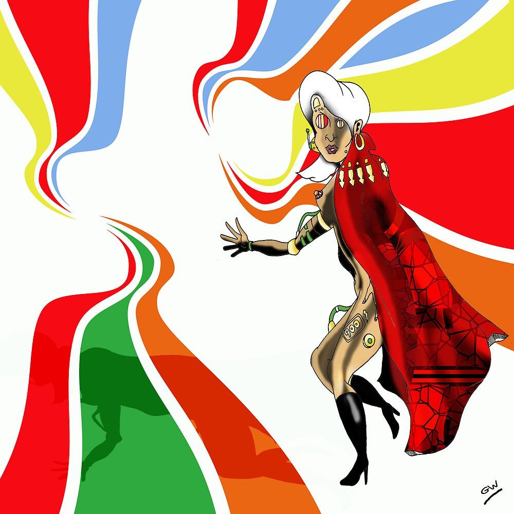 Robot Femme Fatale in Red Cloak.. by Grant Wilson