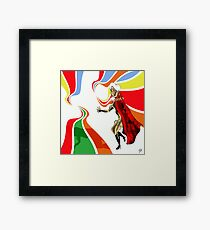 Robot Femme Fatale in Red Cloak.. Framed Print
