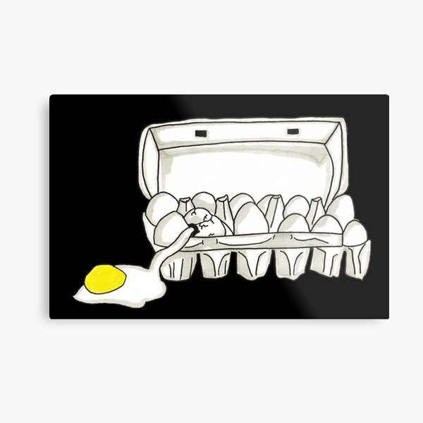 Spooky Ghostbusters Fried Eggs Box Inspired Pen and Ink Illustration by Jayne Kitsch Metal Print