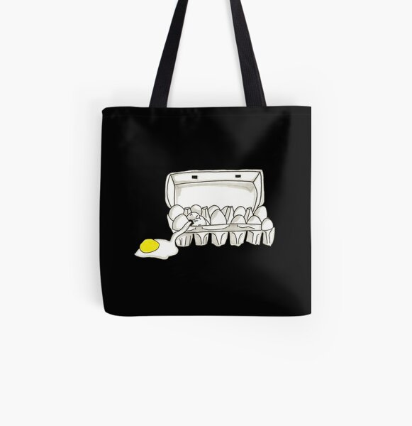 Spooky Ghostbusters Fried Eggs Box Inspired Pen and Ink Illustration by Jayne Kitsch All Over Print Tote Bag