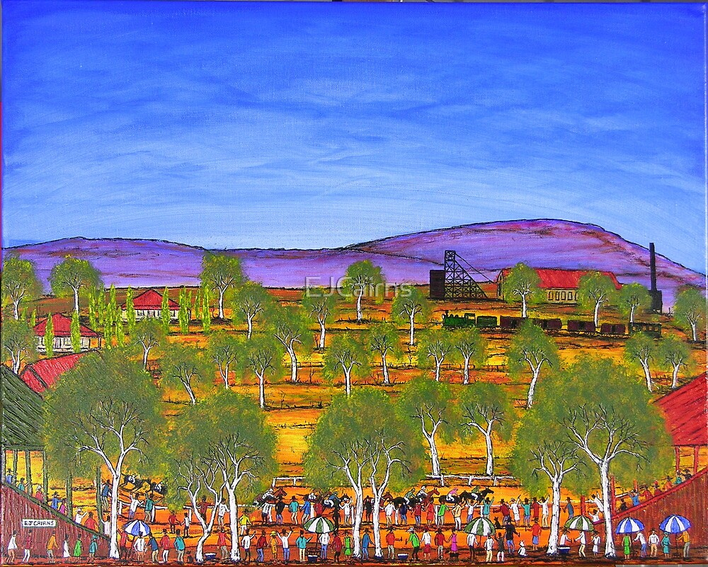 """""""GoldFields Race Day"""" Original australian Painting; Sold to the UK by EJCairns"""