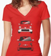 Fiat 500 600 Abarth Women's Fitted V-Neck T-Shirt