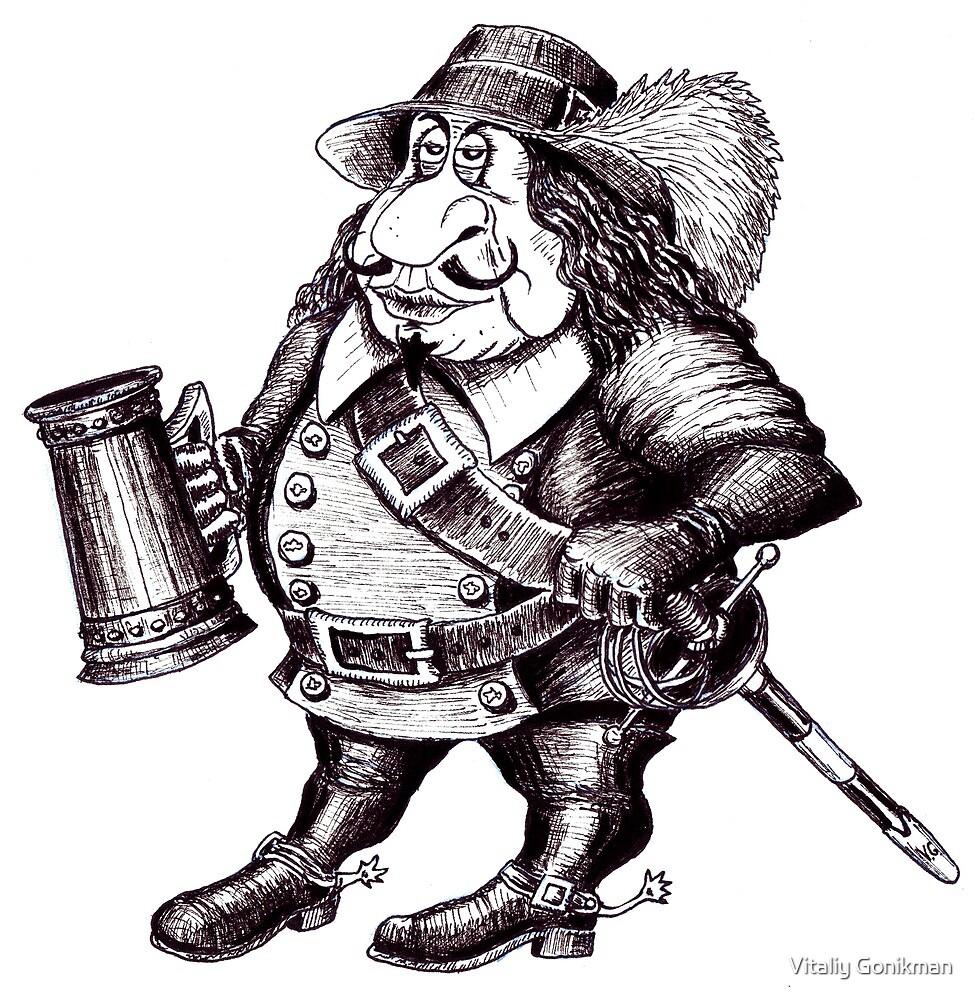Beer Drinking Musketeer pen ink black and white drawing by Vitaliy Gonikman