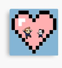 """Love in 8-bit"": Jeff and Annie (Style D) Canvas Print"