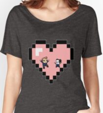 """""""Love in 8-bit"""": Jeff and Annie (Style D) Women's Relaxed Fit T-Shirt"""