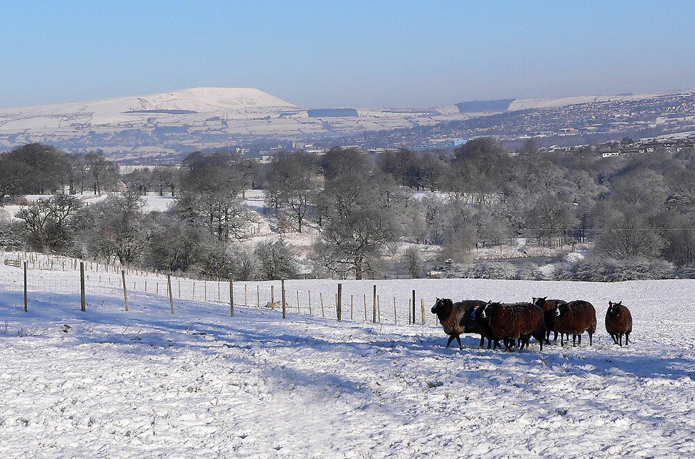 Snow over Pendle by Geoff  Hargreaves