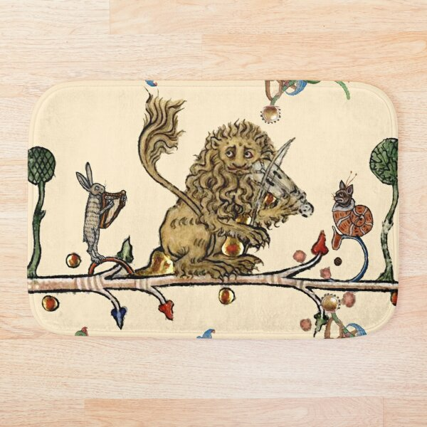 WEIRD MEDIEVAL BESTIARY MAKING MUSIC Violinist Lion,Hare And Snail Cat Bath Mat