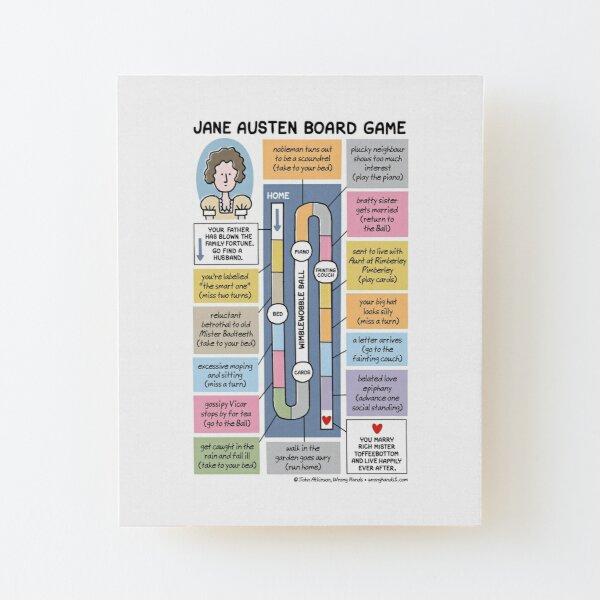 Jane Austen Board Game Wood Mounted Print