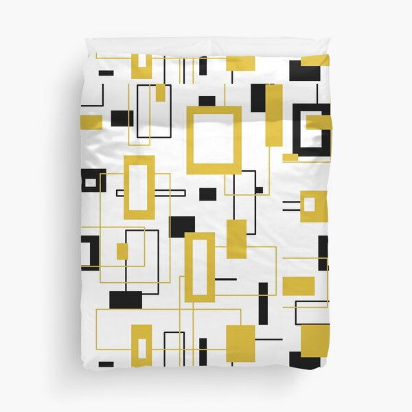 Black and gold square patterns Duvet Cover