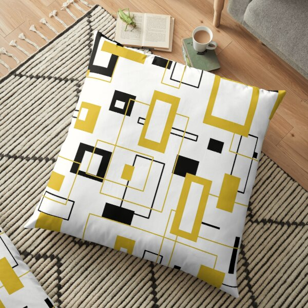 Black and gold square patterns Floor Pillow