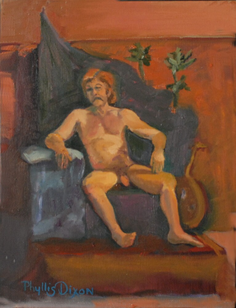 Seated Male Nude by Phyllis Dixon