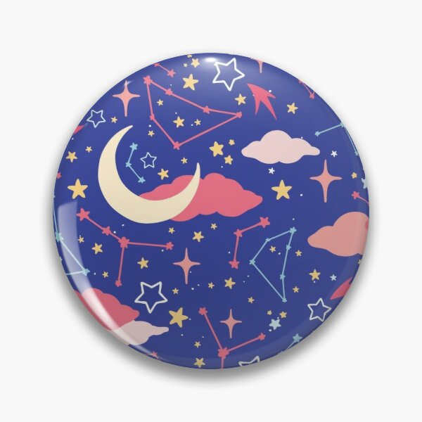 Constellation Stars and Moons in Neon Pastels Pin