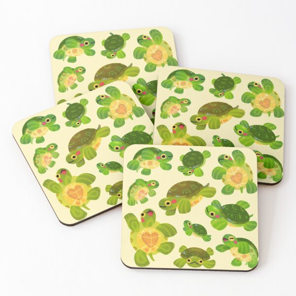 Red-eared slider Coasters (Set of 4)