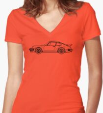 Classic Sports Car Outline Women's Fitted V-Neck T-Shirt