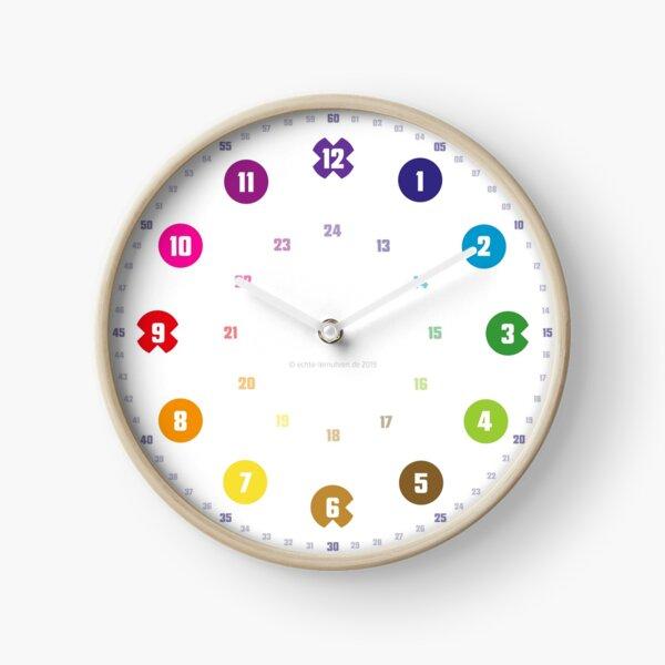 Echte-Lernuhren.de | EasyRead Kinderuhr Kinderzimmeruhr 24 Std Format ©hatgirlDESIGN (Kreise, Viertelstundenmarkierung, Regenbogen) Schulbedarf Klassenzimmer Uhr