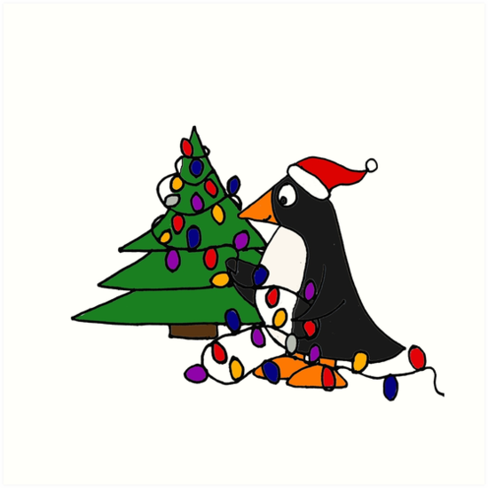 Funny Cool Penguin Putting Christmas Lights On Tree Art Prints By
