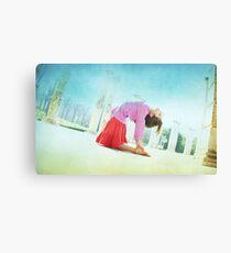 Ustrasana, Yoga in the beach, Barcelona  Canvas Print