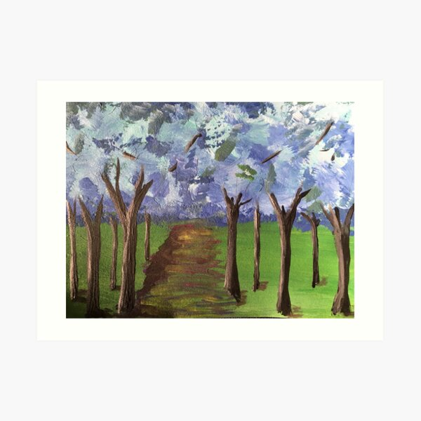 Within The Woods - Blue Forest Art Print