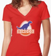 Dinoco (Cars) Women's Fitted V-Neck T-Shirt