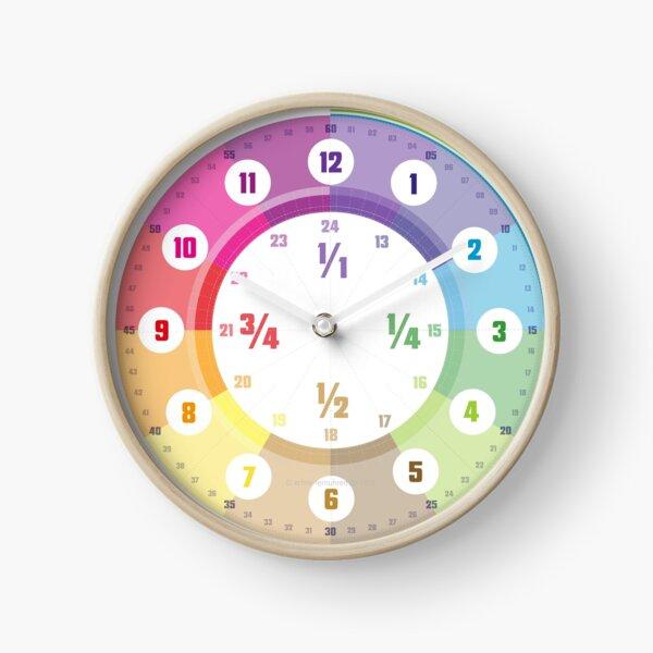 Lernuhr Regenbogen Pastell mit Bruchzahlen Mathematisch 24 Std © hatgirl.de (Uhr, für Kinder, Minmaldesign) Uhr