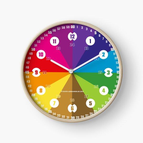 Lernuhr Regenbogen mit Ziffern © hatgirl.de (Uhr, für Kinder, Minmaldesign) Uhr