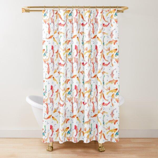 Watercolored Koi Pond Shower Curtain