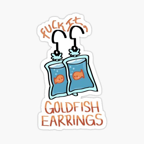 Cute Goldfish Earrings Sticker Sticker