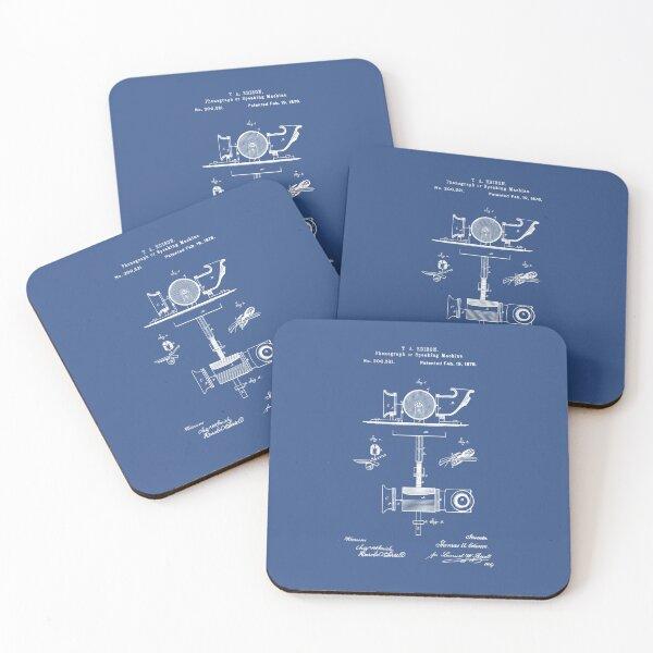 Phonograph Patent Blueprint Thomas Edison Coasters (Set of 4)