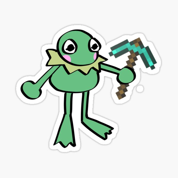Kermit the Frog with a Minecraft Diamond Pickaxe Sticker