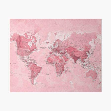 Pink World Map Art Board Print