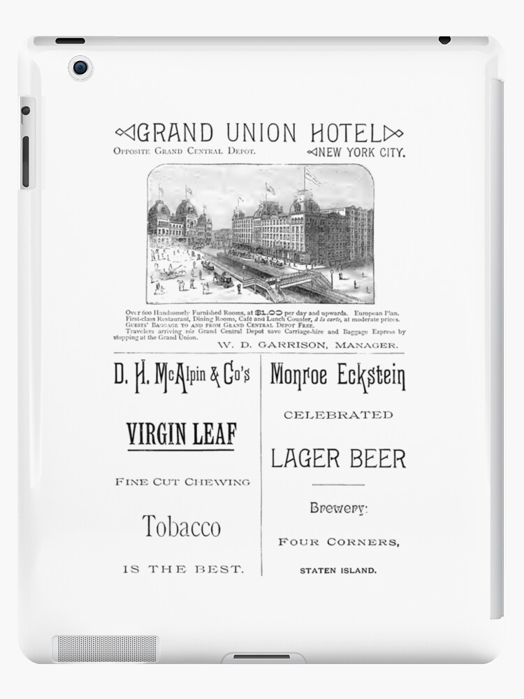 Vintage Ads From 1886 Grand Union Hotel Nyc Ipad Case Skin By Vintagevictrix Redbubble