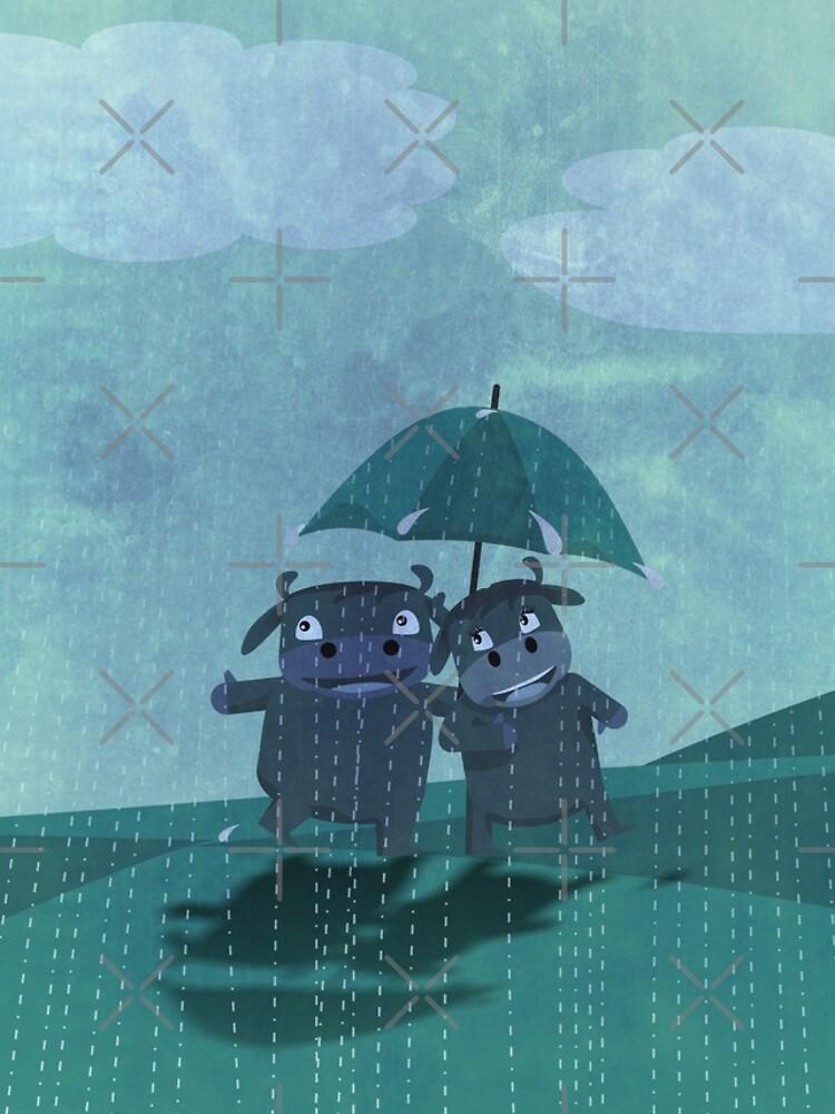 lovers in the rain by busyokoy