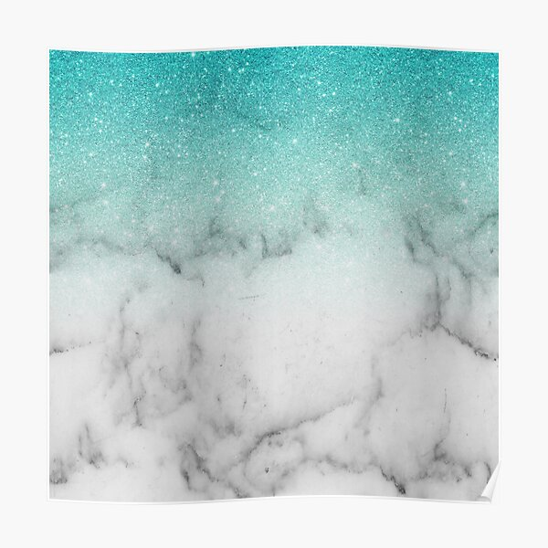 Teal Glitter Marble Ombre Fading Gradient  Poster