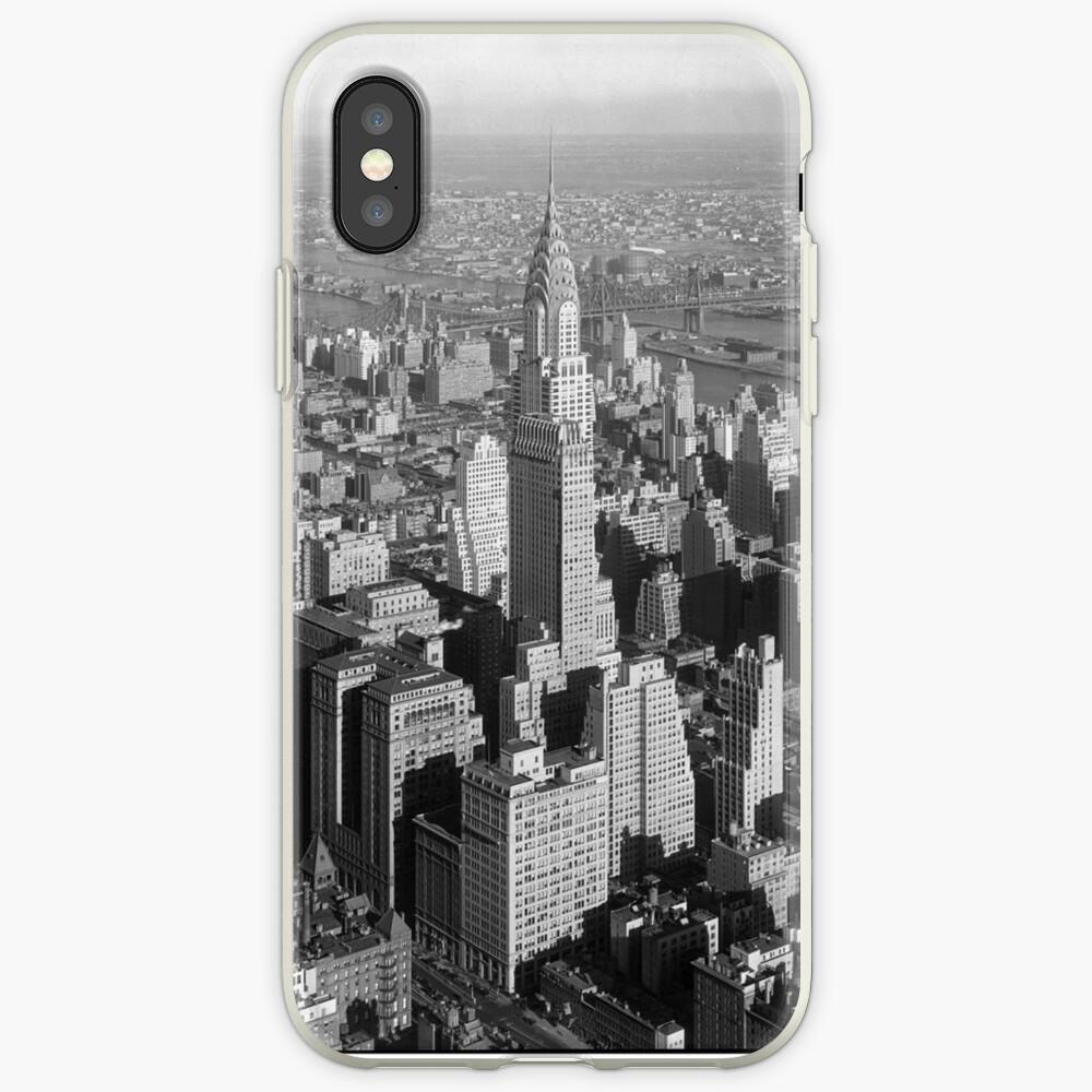 Vintage Midtown Manhattan Photograph Vinilos y fundas para iPhone