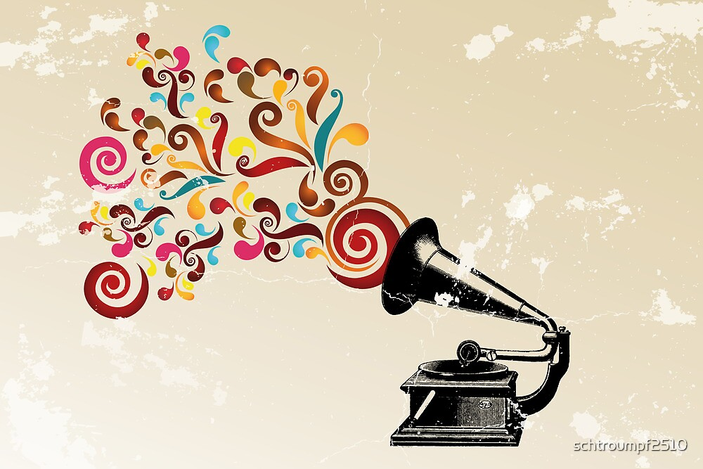 Abstract swirl background with record player by schtroumpf2510