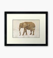 Vintage poster with elephant Framed Print
