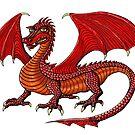Red Dragon cartoon drawing art by Vitaliy Gonikman