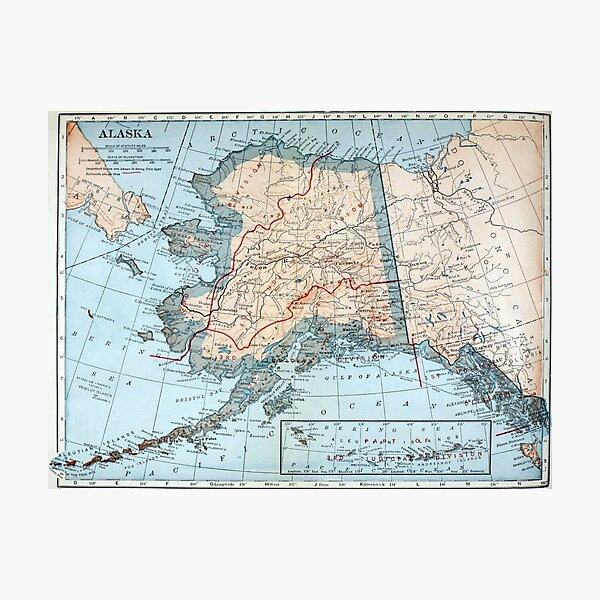 Vintage Map of Alaska (1921) Photographic Print