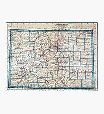 Vintage Map of Colorado (1921) Photographic Print