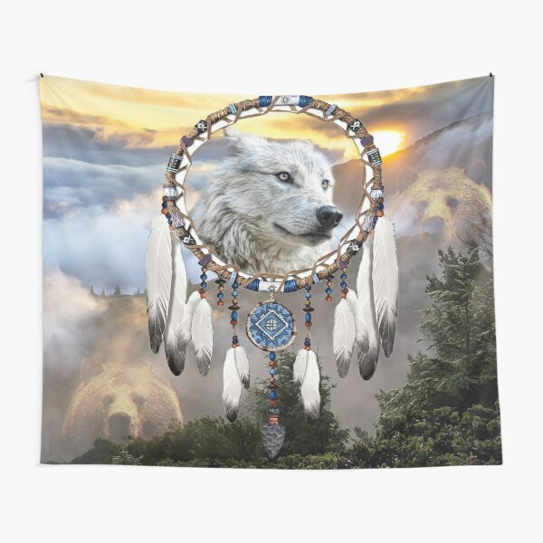 Wolf, Bear and Dream Catcher Tapestry