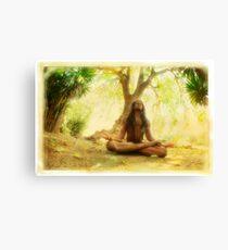 Yoga meditation by the tree Canvas Print