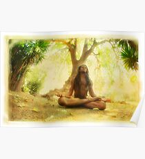 Yoga meditation by the tree Poster